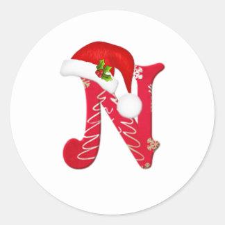 Monogram letter N, Santa hat Christmas  Sticker
