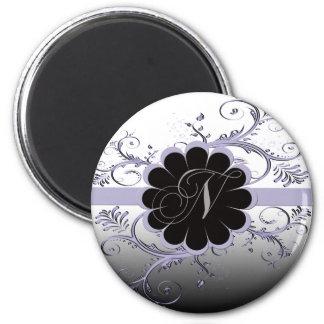 Monogram Letter N Violet 2 Inch Round Magnet