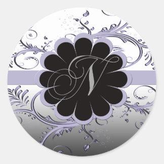 Monogram Letter N Violet Classic Round Sticker