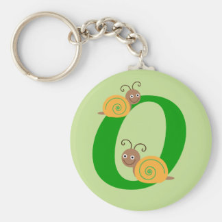 Monogram letter O brian the snail kids keychain