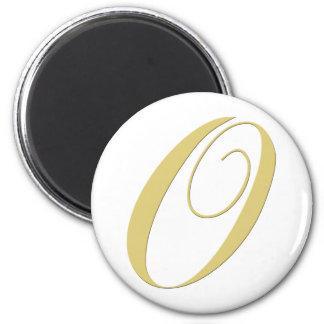 Monogram Letter O Golden Single 2 Inch Round Magnet