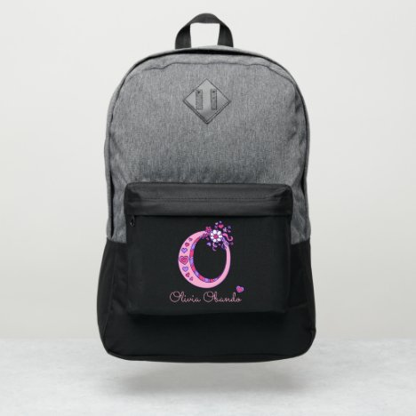 Monogram letter O hearts flower custom name Port Authority® Backpack