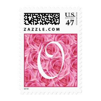 Monogram Letter O Pink Rose Stamp