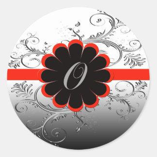 Monogram Letter O Red Classic Round Sticker