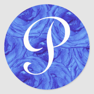 Monogram Letter P Blue Rose Sticker