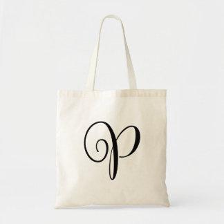 "Monogram Letter ""P"" Budget Tote-Canvas Tote Bag"