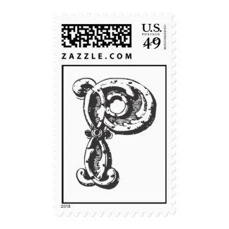 Monogram Letter P in Black Postage