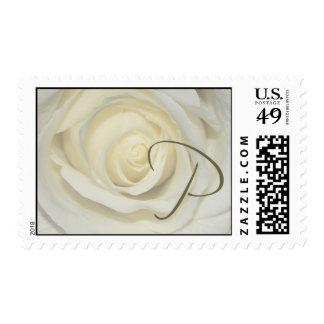 Monogram - Letter P - Soft cream rose Postage