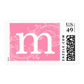 Monogram Letter Pink Postage