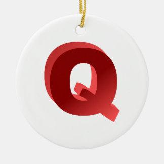 Monogram Letter Q Ceramic Ornament