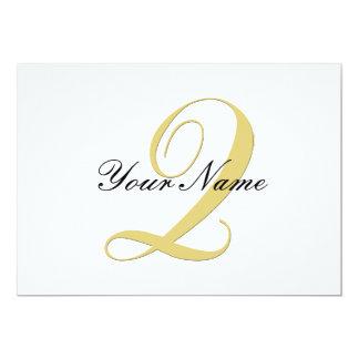 Monogram Letter Q  Golden Single Card