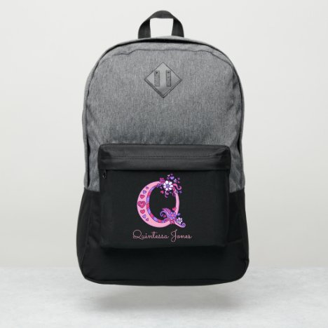 Monogram letter Q hearts flower custom name Port Authority® Backpack