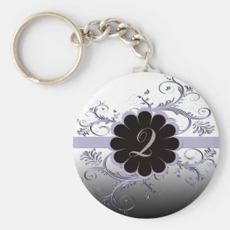 Monogram Letter Q Violet Keychain