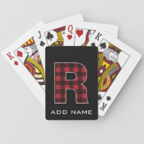Monogram Letter R - Black and Red Buffalo Plaid Playing Cards
