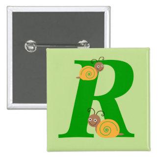 Monogram letter R brian the snail kids button, pin
