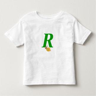 Monogram letter R brian the snail toddler t-shirt