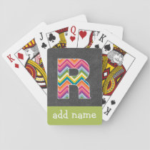 Monogram Letter R - Chalkboard and Bright Chevrons Playing Cards