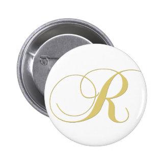 Monogram Letter R Golden Single Pinback Buttons