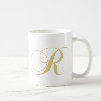 Monogram Letter R Golden Single Coffee Mugs