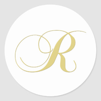 Monogram Letter R Golden Single Stickers