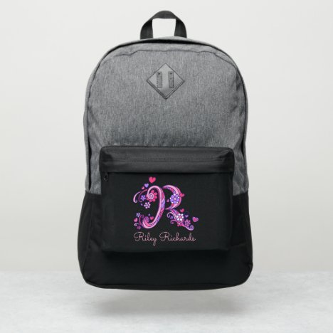 Monogram letter R hearts flower custom name Port Authority® Backpack
