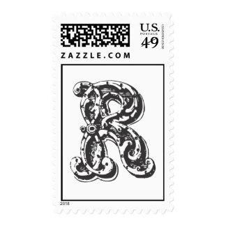 Monogram Letter R in Black Postage