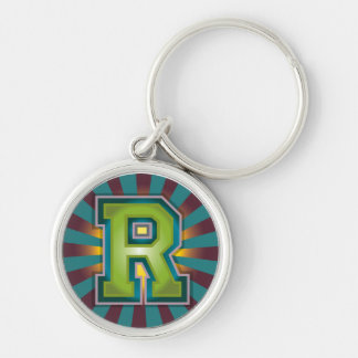 Monogram Letter R Silver-Colored Round Keychain
