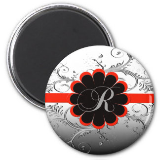 Monogram Letter R Red 2 Inch Round Magnet