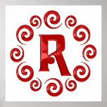 Monogram Letter R Red Poster