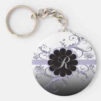 Monogram Letter R Violet Keychain