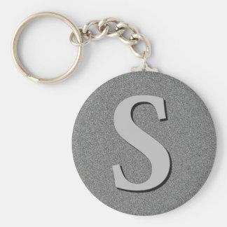 Monogram Letter S Basic Round Button Keychain