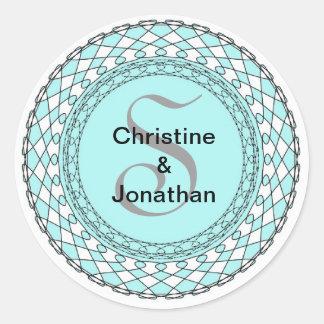 Monogram Letter S Blue Wedding Envelope Seal Classic Round Sticker