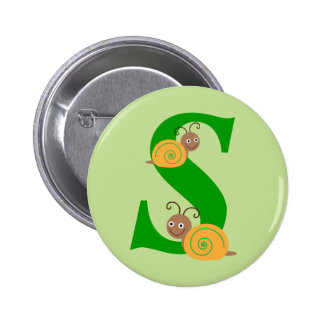 Monogram letter S brian the snail kids button, pin