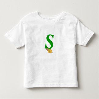 Monogram letter S brian the snail toddler t-shirt