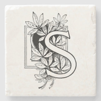 Monogram Letter 'S' Collage Stone Coaster