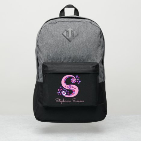 Monogram letter S hearts flower custom name Port Authority® Backpack