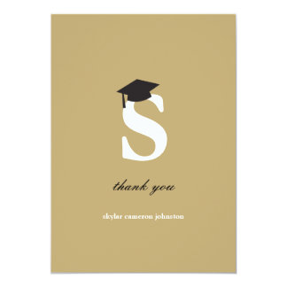 Monogram Letter S Modern Graduation Thank You Card