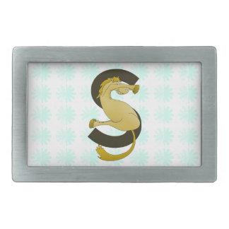 Monogram  Letter S Pony Distressed Flower Pattern Belt Buckle
