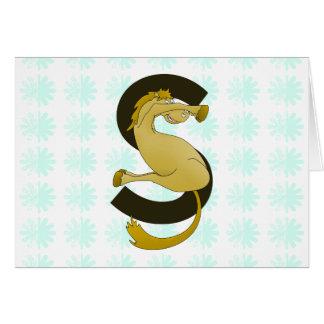 Monogram  Letter S Pony Distressed Flower Pattern Card