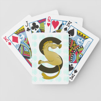 Monogram  Letter S Pony Distressed Flower Pattern Bicycle Playing Cards