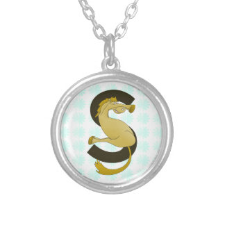 Monogram  Letter S Pony Distressed Flower Pattern Silver Plated Necklace