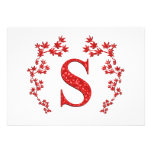 Monogram Letter S Red Leaves Announcement