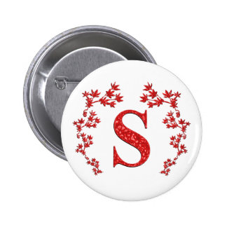 Monogram Letter S Red Leaves Pinback Buttons