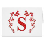 Monogram Letter S Red Leaves Greeting Card