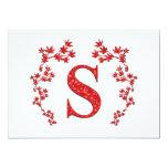 Monogram Letter S Red Leaves 5x7 Paper Invitation Card