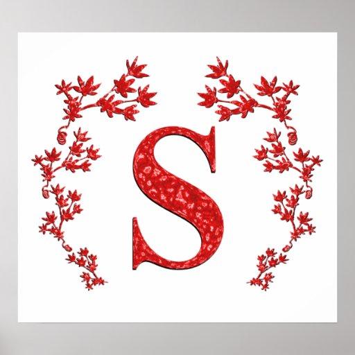 Monogram Letter S Red Leaves Poster