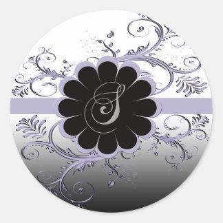 Monogram Letter S Violet Classic Round Sticker