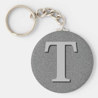 Monogram Letter T Basic Round Button Keychain