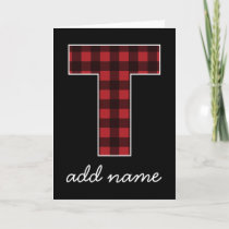 Monogram Letter T - Black and Red Buffalo Plaid Note Card