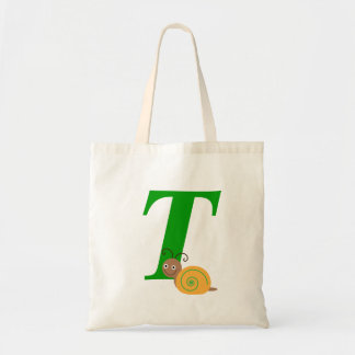 Monogram letter T brian the snail kids tote bag